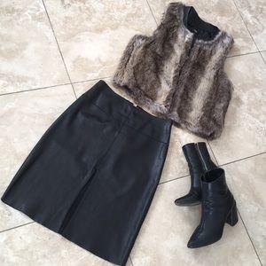 BEBE Genuine Leather high waist pencil skirt